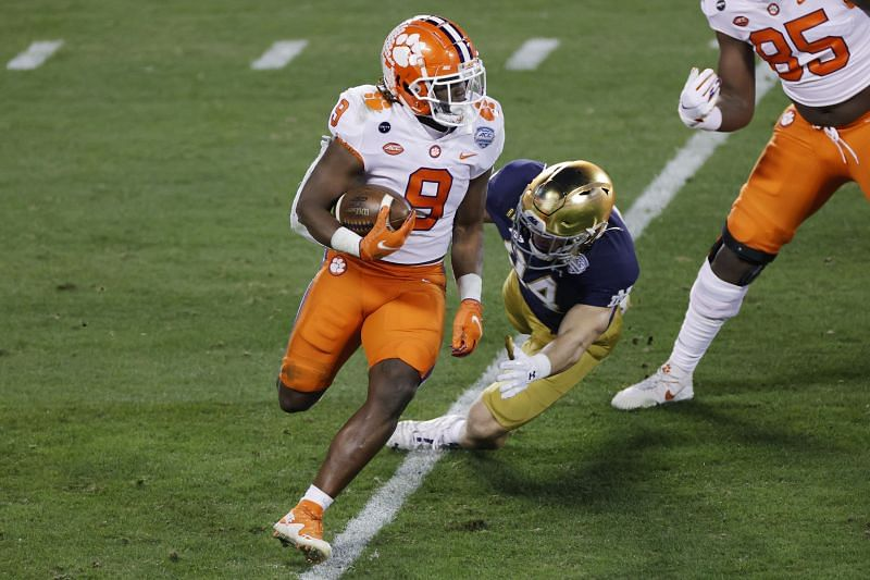 Clemson running back Travis Etienne breaks free against Notre Dame in the ACC Championship.