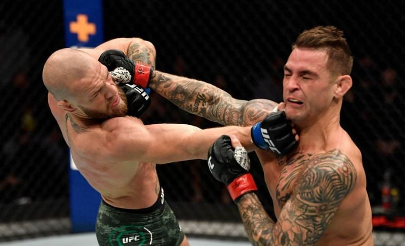 Conor McGregor (left); Dustin Poirier (right)