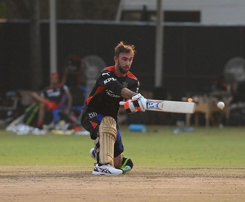 Glenn Maxwell in action during a practice game ahead of IPL 2021 [Credits: RCB]
