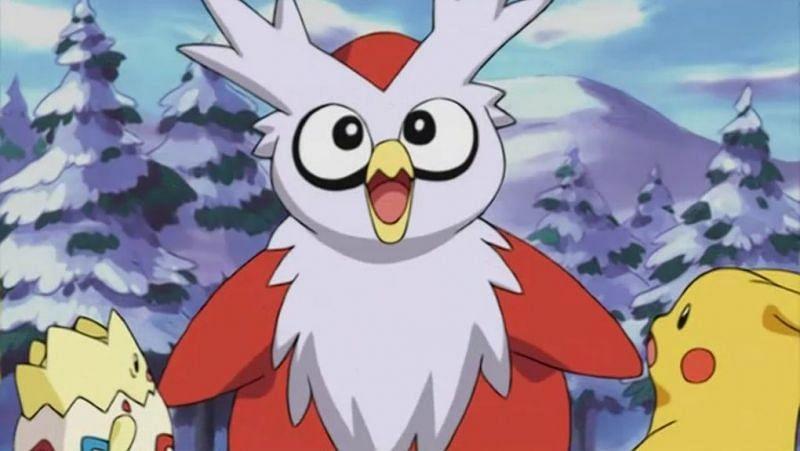 Delibird alongside Togepi and Pikachu in the anime (Image via The Pokemon Company)