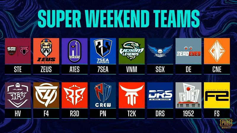 PMPL Season 3 South Asia super weekend 3 Teams