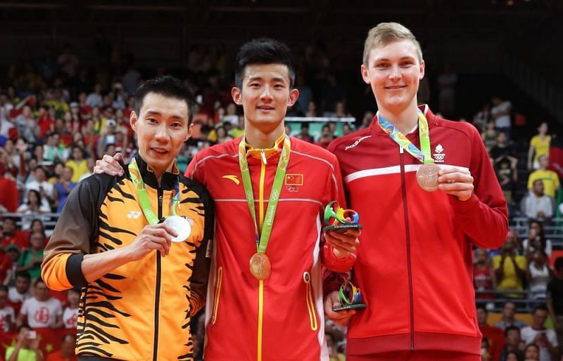 (From left) Lee Chong Wei, Chen Long and Viktor Axelsen on the podium at the Rio Olympics