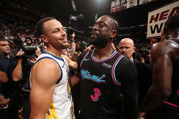 Stephen Curry with Dwyane Wade