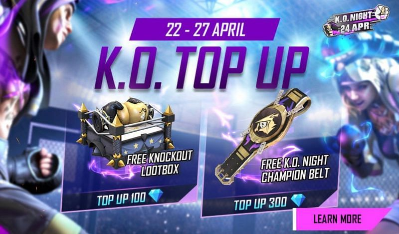 The KO Top Up event in Free Fire will run from April 22 to April 27