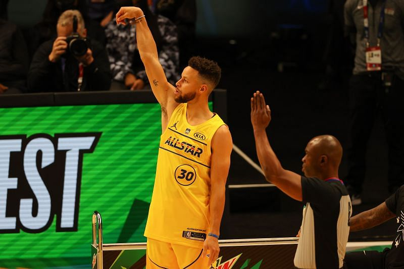 Stephen Curry #30 competes in the 2021 NBA All-Star - MTN DEW 3-Point Contest.