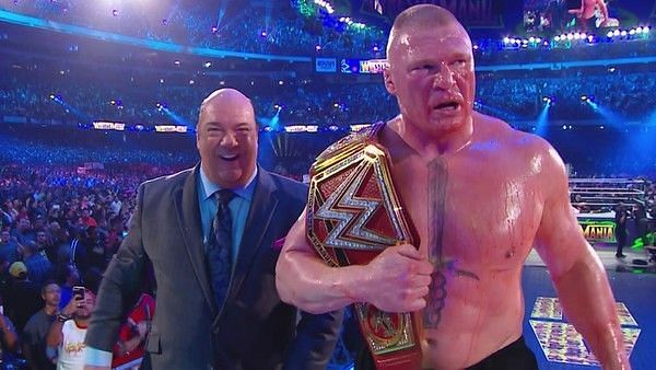 Brock Lesnar after the WrestleMania 34 main event.