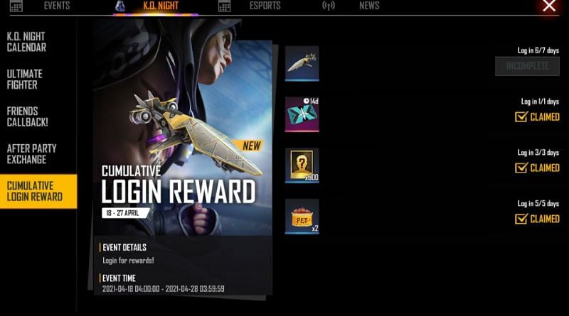 Tap the claim button besides the reward to obtain it.