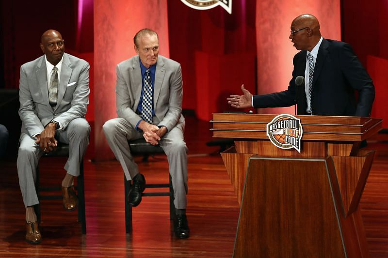 Basketball Hall of Famers Spencer Haywood and Rick Barry sit onstage during the induction ceremonies for the Naismith Memorial Basketball Hall of Fame Class of 2017.