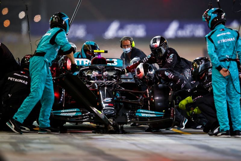 Mercedes narrowly won the 2021 season-opener in Bahrain. (Photo by Mark Thompson/Getty Images)