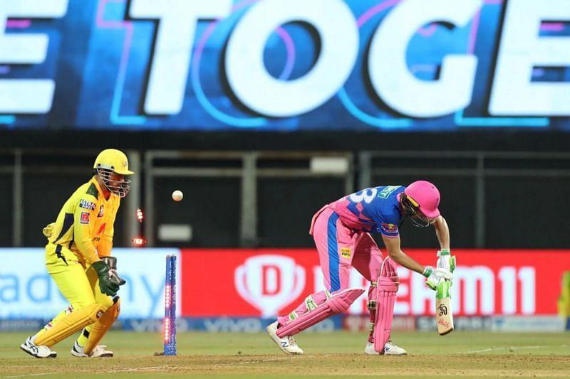 Jos Buttler is bowled by Ravindra Jadeja in match 12 of IPL 2021. Pic: IPLT20.COM