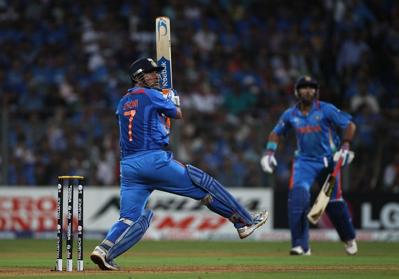 MS Dhoni in action during the 2011 World Cup Final