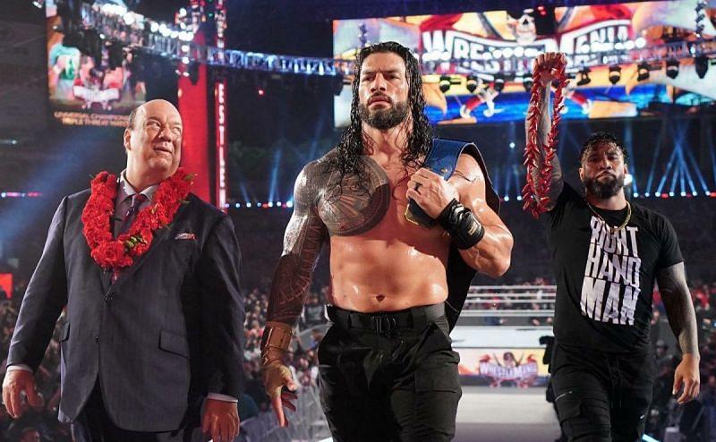 A triumphant Roman Reigns at WrestleMania 37.