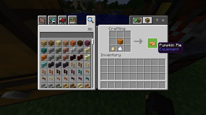 To make pumpkin pie combine a full pumpkin, sugar, and an egg in any configuration in your crafting menu.