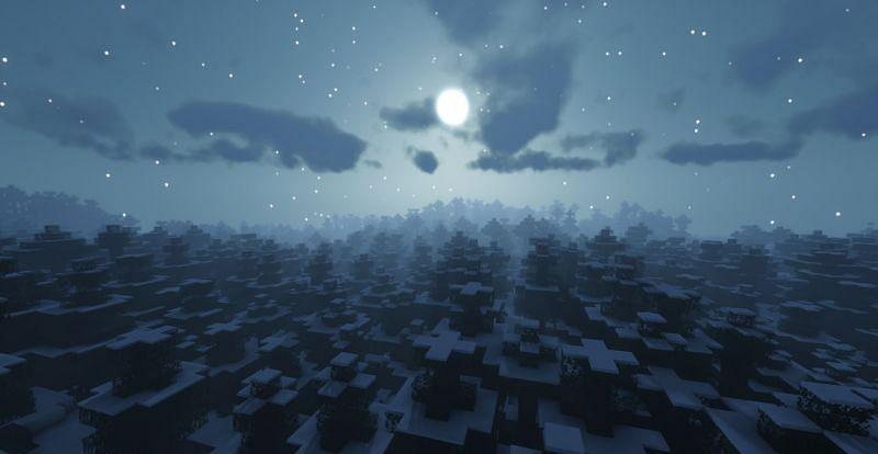 Shown: A beautiful night in a Snowy Taiga biome (Image via Minecraft)