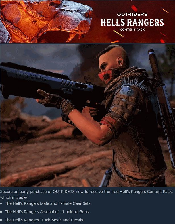 The Hells Rangers content pack in Outriders (Image via Steam)