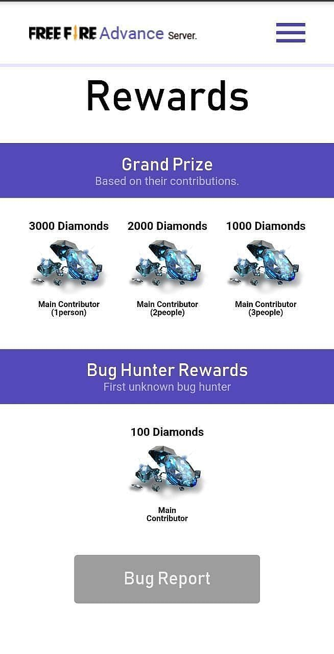 Diamonds can be obtained by reporting bugs in Free Fire advance server