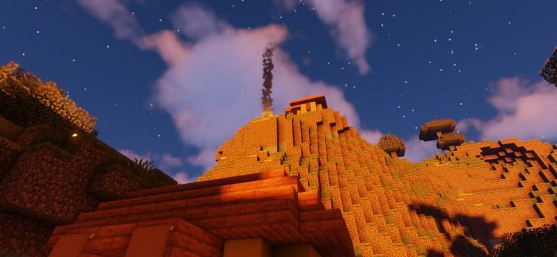 Una señal de fuego en la cima de una montaña en Minecraft (Imagen a través de Minecraft)