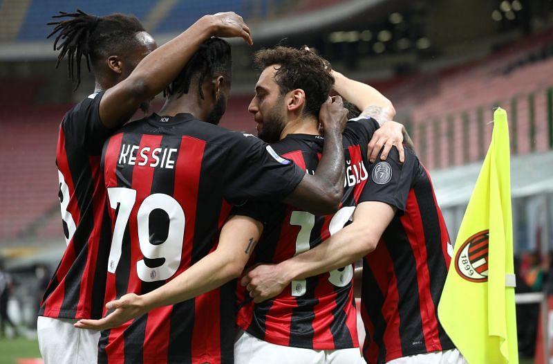 AC Milan  celebrate a goal in Serie A