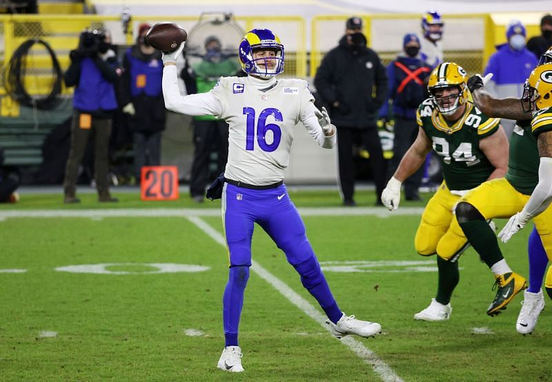 Jared Goff passes against the Green Bay Packers on Jan. 16, 2021