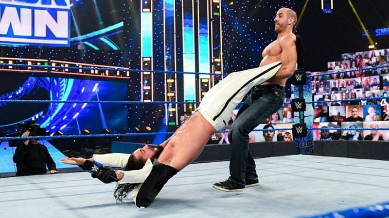 Cesaro swings Seth Rollins (Credit: WWE)