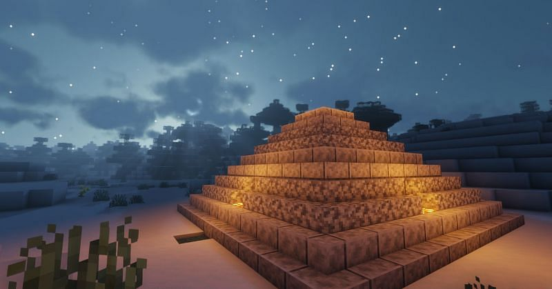 Shown: A mysterious Diorite pyramid aligning with the stars (Image via Minecraft)