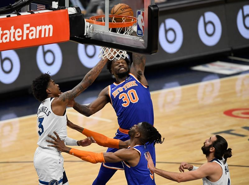 Julius Randle #30 of the New York Knicks is leading the race to win the MIPOY award this season.