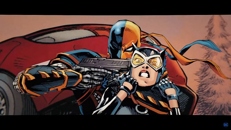 Deathstroke and Cat Woman (Image via YouTube, DC)