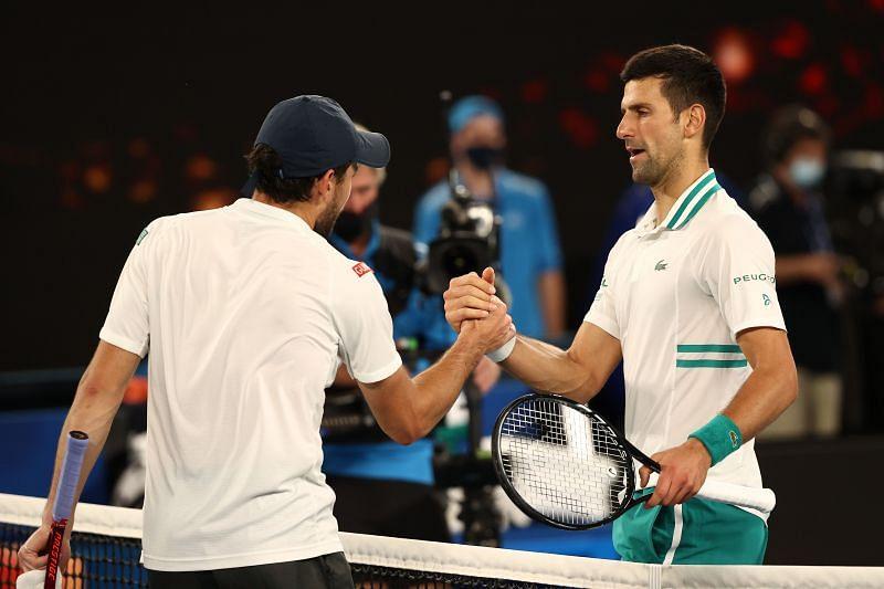 Novak Djokovic and Aslan Karatsev will meet in a semifinal, again