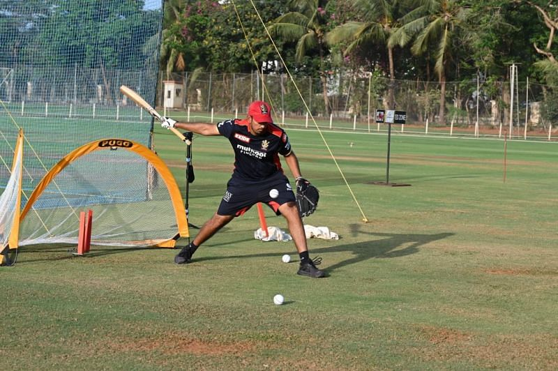 Malolan in action during an RCB practice session