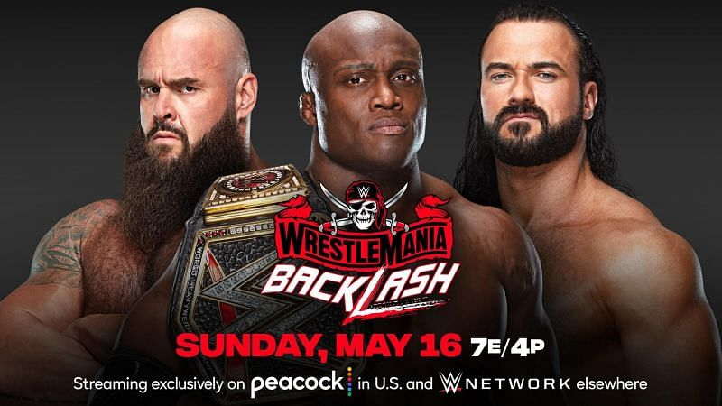 Bobby Lashley will defend the WWE Championship against Braun Strowman and Drew McIntyre at WrestleMania Backlash in May