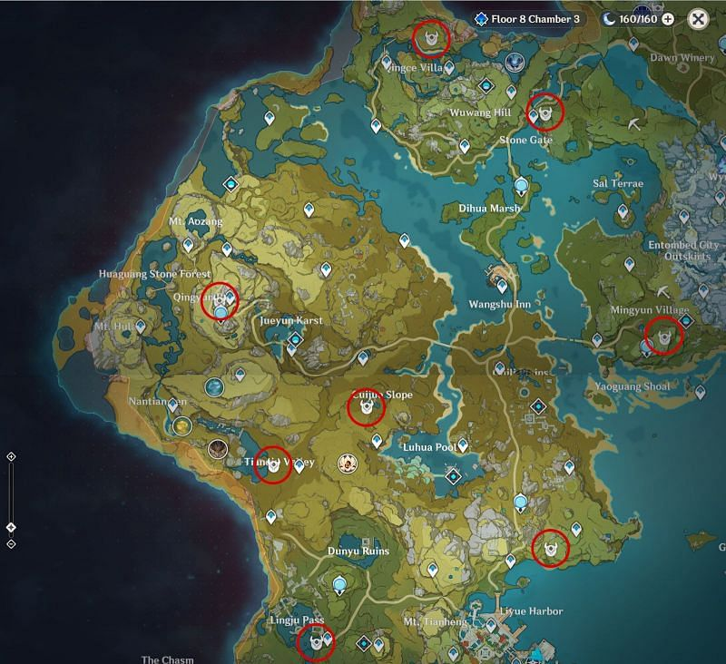 Genshin Impact Map: Unusual Hilichurl Locations in Liyue