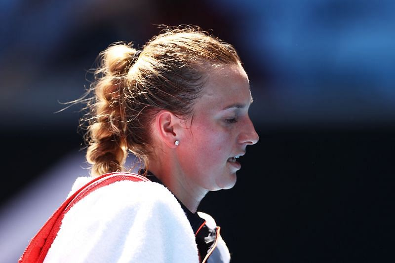 Petra Kvitova looked slightly unsettled playing on the green clay for just the second time in her career.