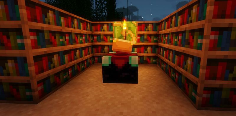 Shown: An Enchanting Table which is powered by bookshelves (Image via Minecraft)