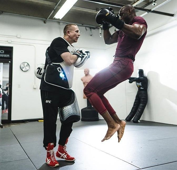Coach Trevor Wittman training Kamaru Usman (Instagram: @usman84kg)
