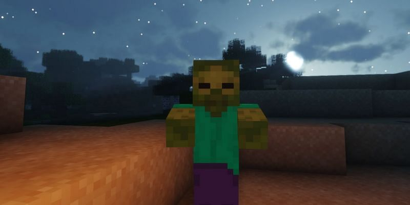 Shown: A Zombie in the moonlight (Image via Minecraft)