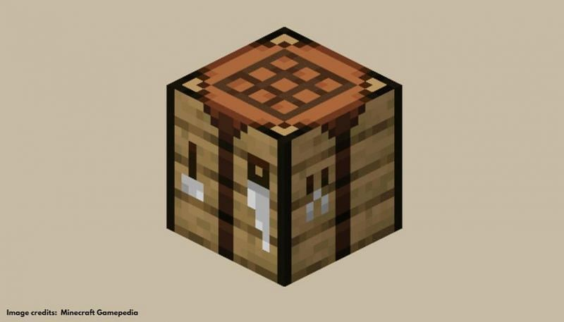 Players must place the sticks and the diamonds on a crafting table to make a diamond pickaxe (Image via Minecraft Gamepedia)