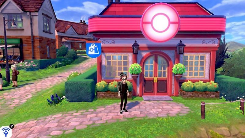 After you receive the upgraded Rotom Bike on Route 9, travel to the Wedgehurst Pokémon Center. If you don't have any PokéBalls, visit the Pokémon Center to buy a few