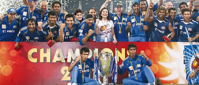 Mumbai Indians celebrate their CLT20 triumph at MA Chidambaram Stadium