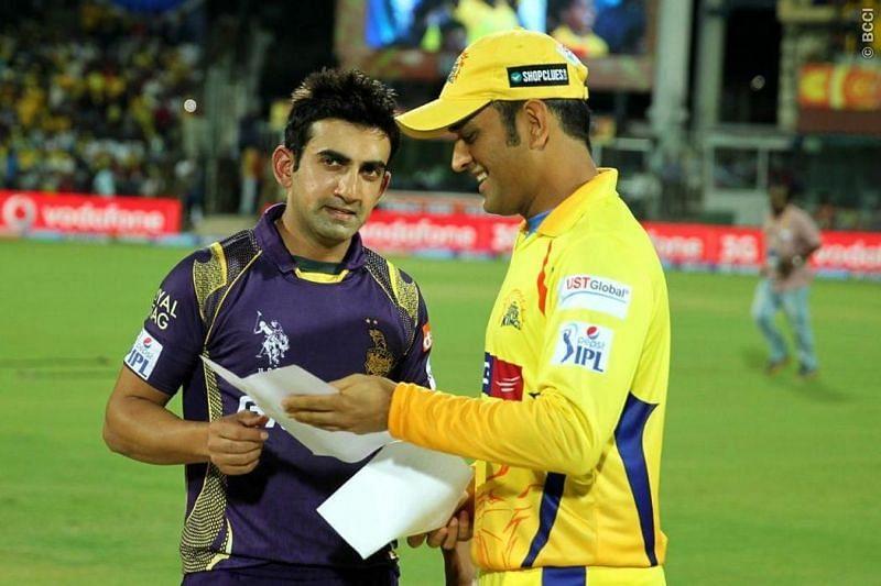 Gautam Gambhir and CSK skipper MS Dhoni ahead  of an IPL game