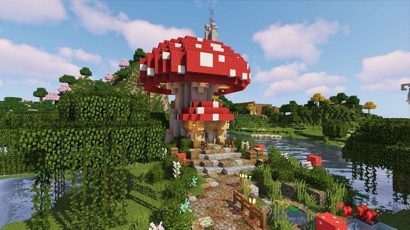 Cute Minecraft mushroom house (Image via Reddit)