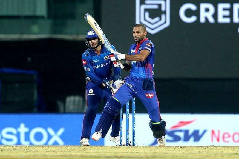Shikhar Dhawan held fort on a difficult wicket to demoralise the MI bowlers.