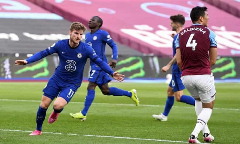 Timo Werner celebrates his goal for Chelsea against the Hammers