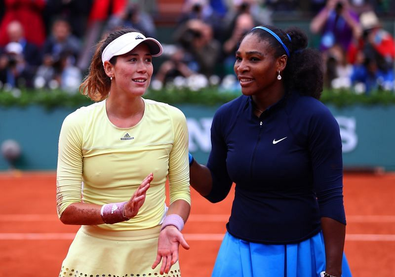 Garbine Muguruza and Serena Williams after the 2016 French Open women