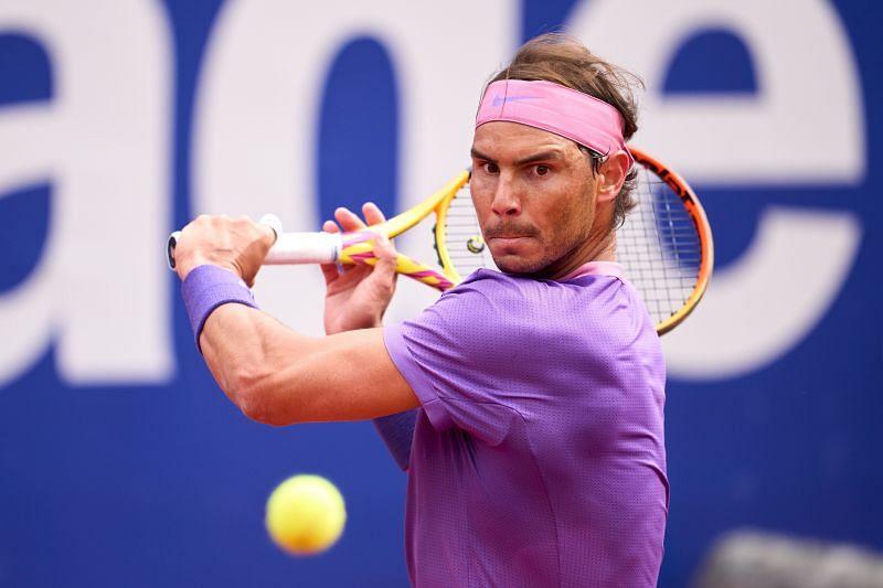 Rafael Nadal prepares for a backhand
