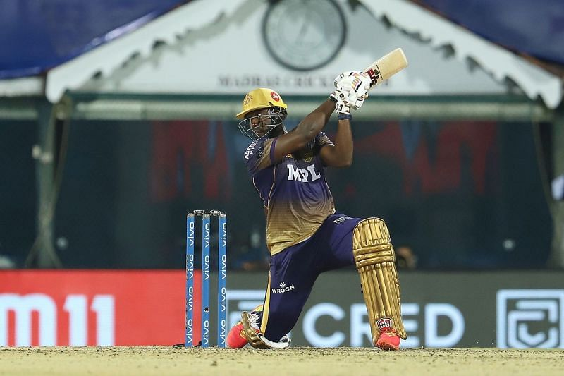 It is tough to stop Andre Russell once he gets going in the middle (Image courtesy: IPLT20.com)