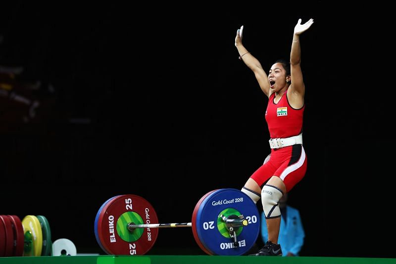 Mirabai Chanu celebrates her victory at the 2018 Commonwealth Games