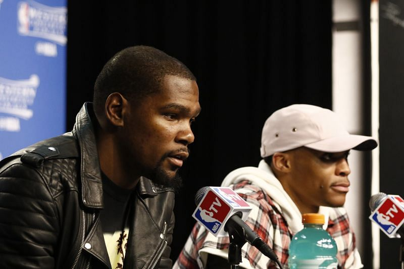 Kevin Durant (left) and Russell Westbrook (right)