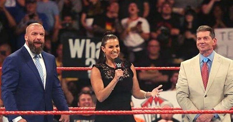 Triple H. Stephanie and Vince McMahon.