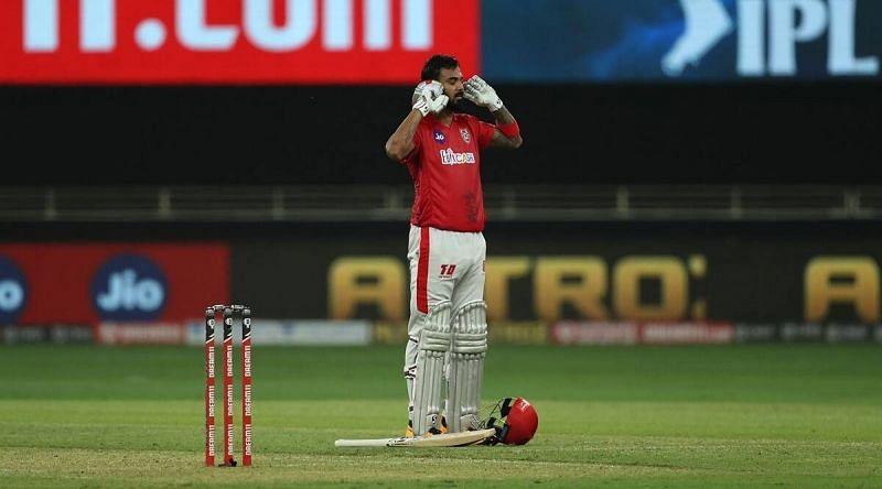 KL Rahul celebrates his centur. (BCCI/IPL)