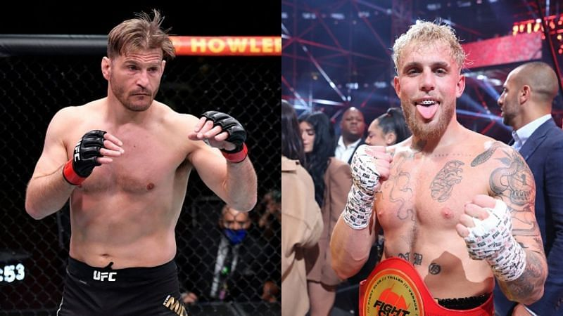 Stipe Miocic (left) and Jake Paul (right)